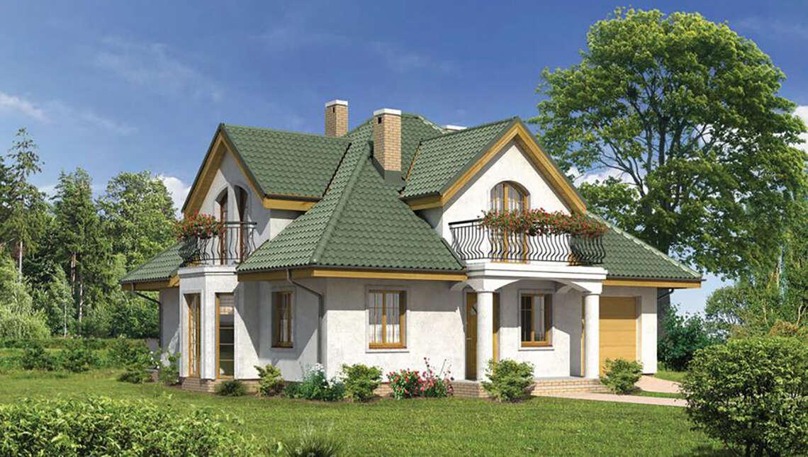 Проект красивого дома под великолепной крышей