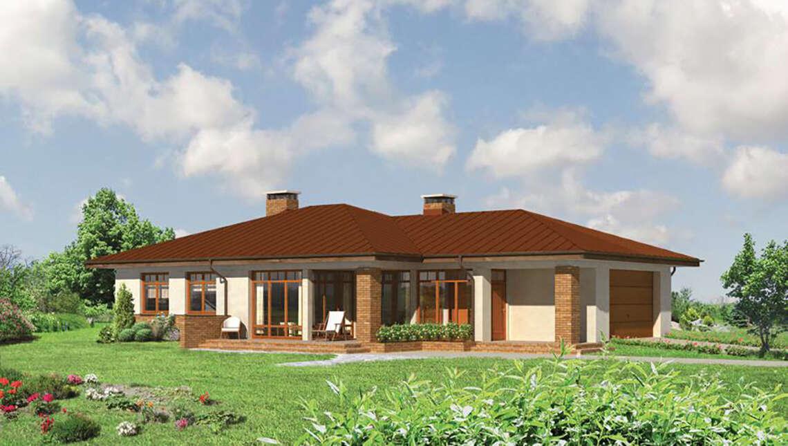 Проект одноэтажного дома с колоннами