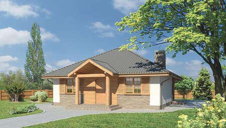 Жилой дом с четырехскатной крышей