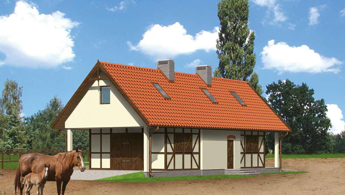 Проект красивой конюшни с жилыми апартаментами