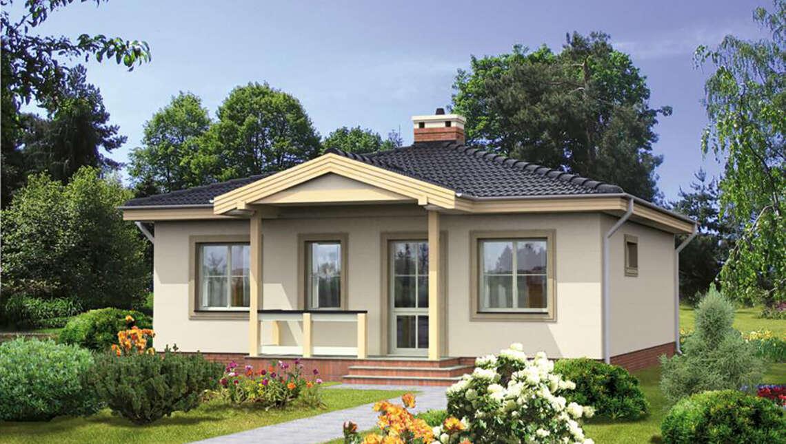 Проект красивого одноэтажного дома под четырехскатной крышей