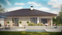 Проект 1 этажного жилого дома с террасой