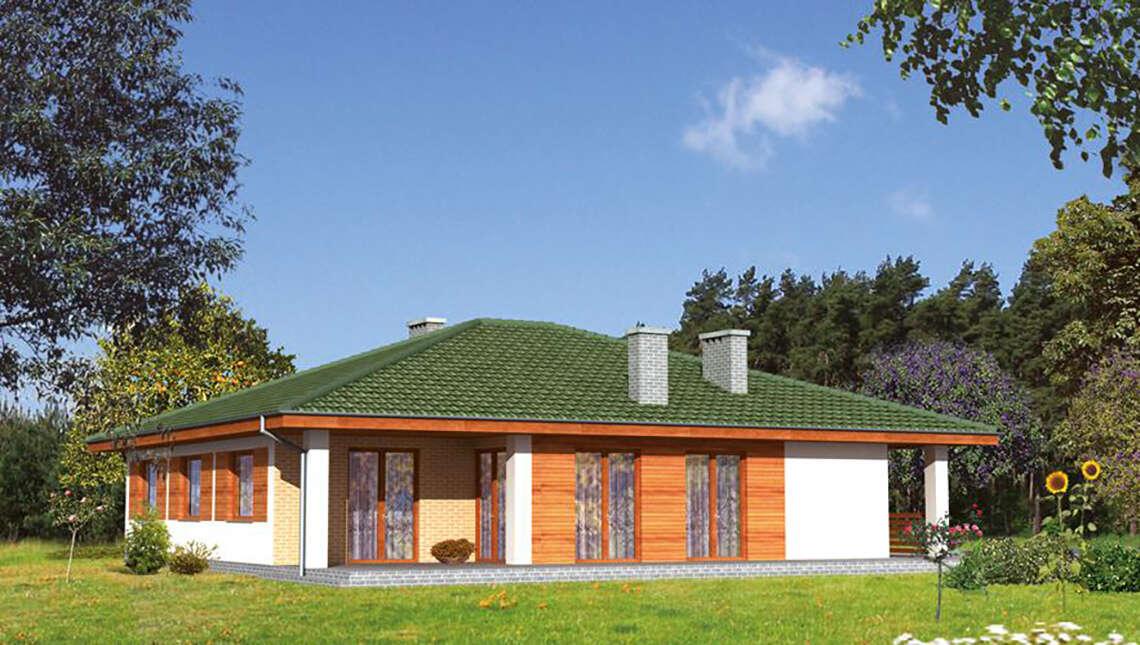 Проект одноэтажного дома кирпичной расцветки