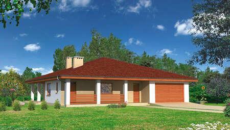 Проект одноэтажного жилого дома площадью 160 м2 с гаражом