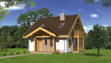 Проект двухэтажного дома с красивым эркером