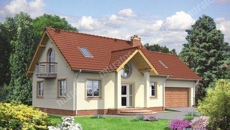 Двухэтажный жилой дом с двумя круглыми балконами