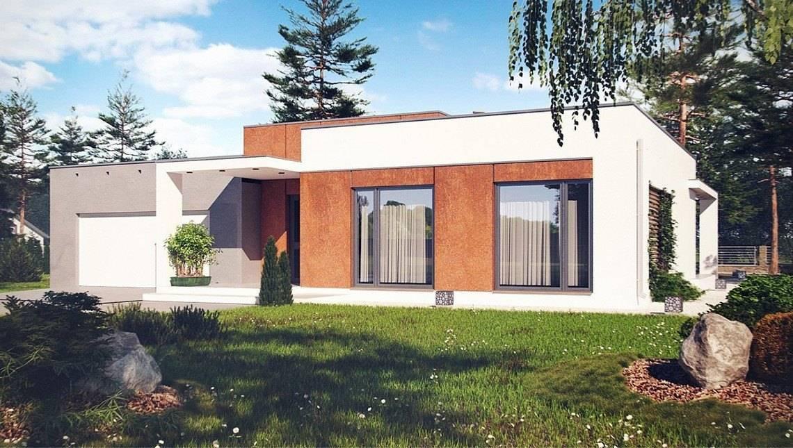 Современный 1-этажный дом с плоской крышей