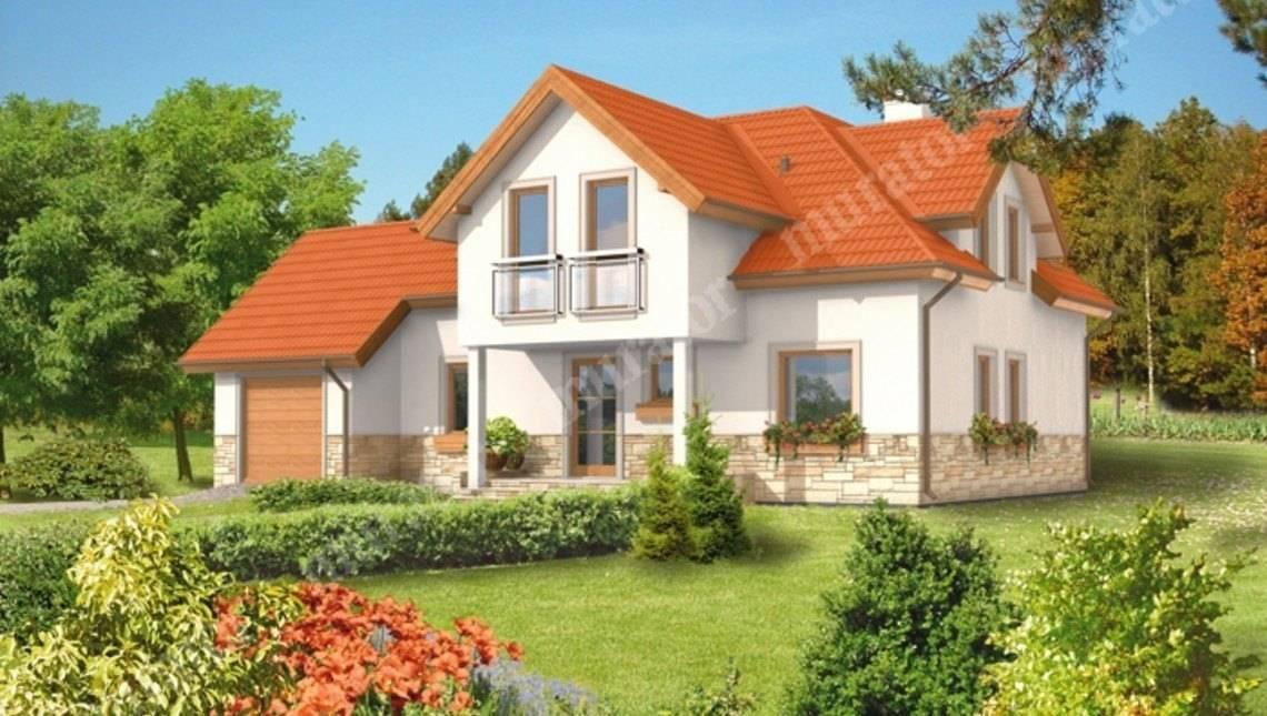 Проект двухэтажного дома под красивой крышей
