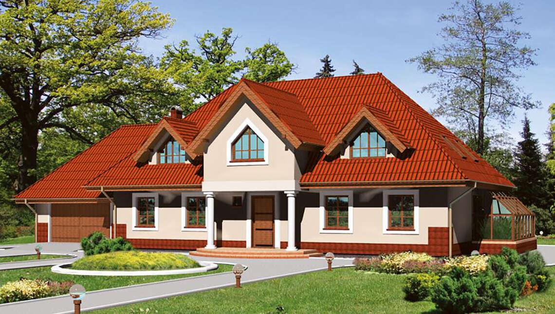 Красивый жилой дом с запоминающейся крышей