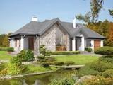 Проект красивого дома декорированного натуральным камнем