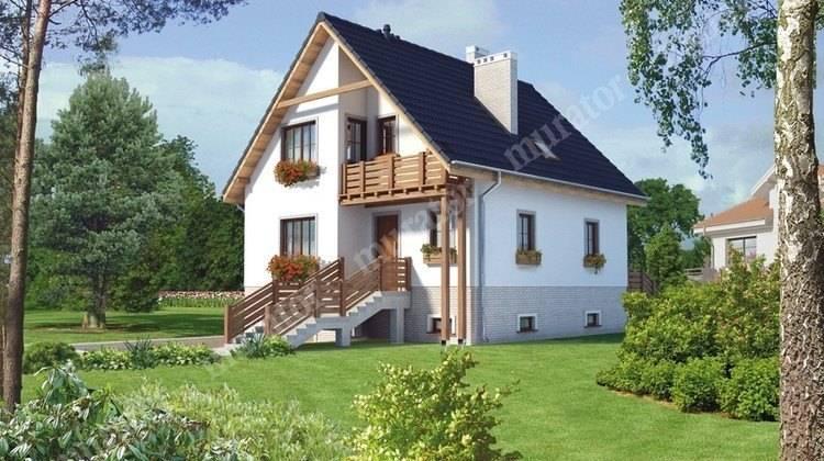 Проект видного двухэтажного дома с цокольным этажом