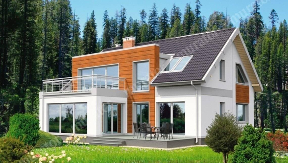 Проект интересного двухэтажного дома с гаражом на 2 авто