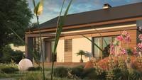 Проект одноэтажного загородного коттеджа с мансардой и двускатной кровлей