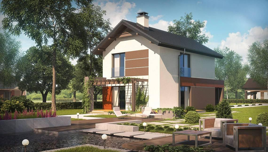 Проект двухэтажного дома с гаражом и светлым фасадом