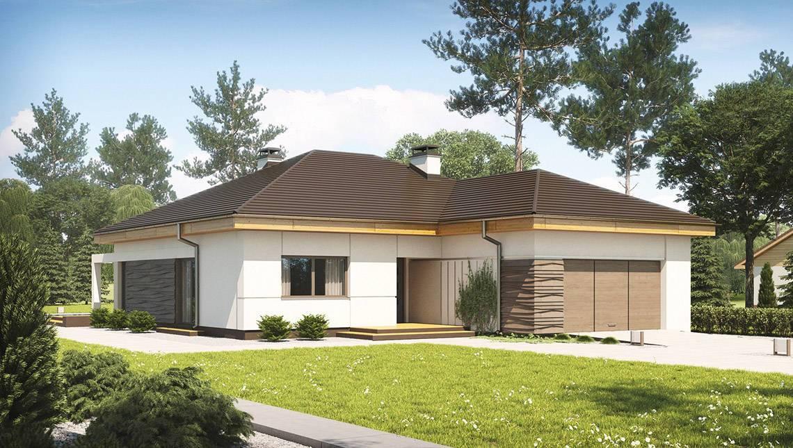 Проект одноэтажного коттеджа с гаражом для 2-х машин