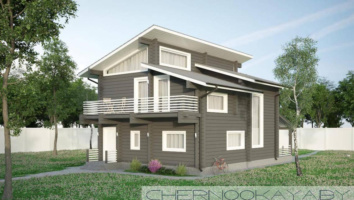 Двухэтажный коттедж из деревянного бруса с гостиной со вторым светом