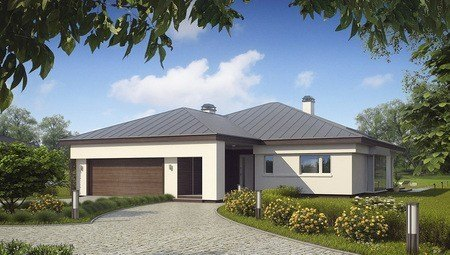 Привлекательный проект одноэтажного дома с гаражом для двух автомобилей