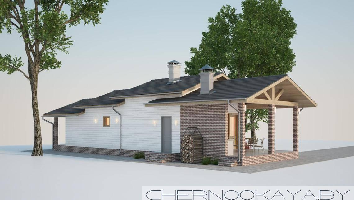 Современный одноэтажный дом для банных процедур
