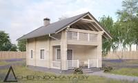Эффектный дом из бревен с просторным балконом и верандой