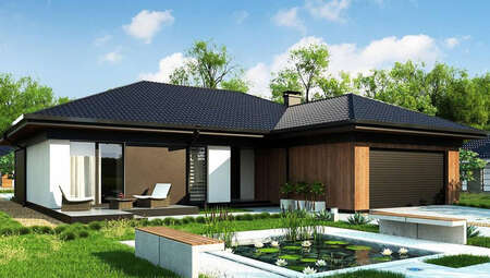 Чертеж дома площадью 246 кв. м с четырьмя спальнями