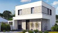 Чертеж стильного дома площадью 133 кв. м с двумя террасами на первом и втором уровне