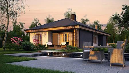 План симпатичного дома в один этаж на 120 кв.м с окнами в английском стиле