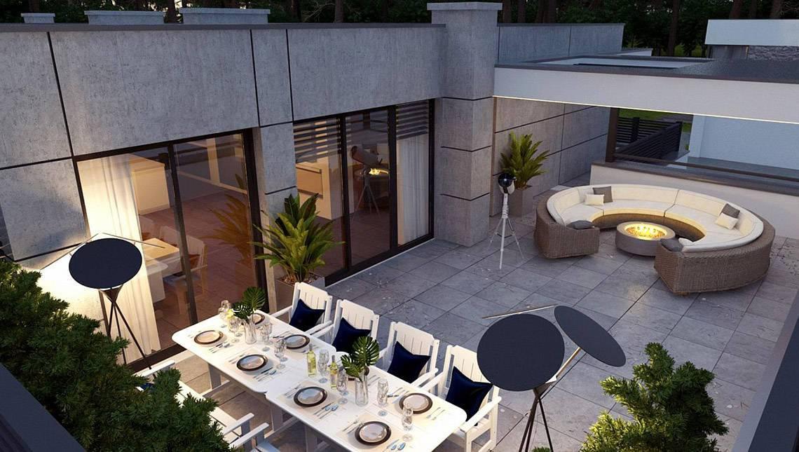 Планировка прекрасного особняка на 246 кв. м просторной террасой на втором этаже