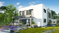 Проект двухэтажного дома на 220 кв. м с контрастным современным экстерьером