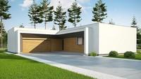 Чертеж современного дома на 170 кв. м с просторной террасой и деревянным декором