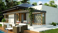 Планировка интересного дома на 165 кв. м с пристроенной гостиной зоной