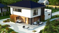 План привлекательного дома на 180 кв. м с просторной террасой на втором этаже