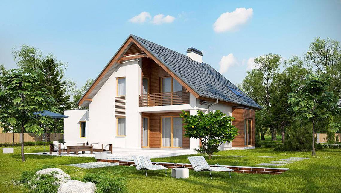 автор предлагает дом из газобетона с балконом фото водным