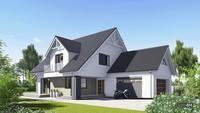 Привлекательный дом с мансардой и красивым балконом