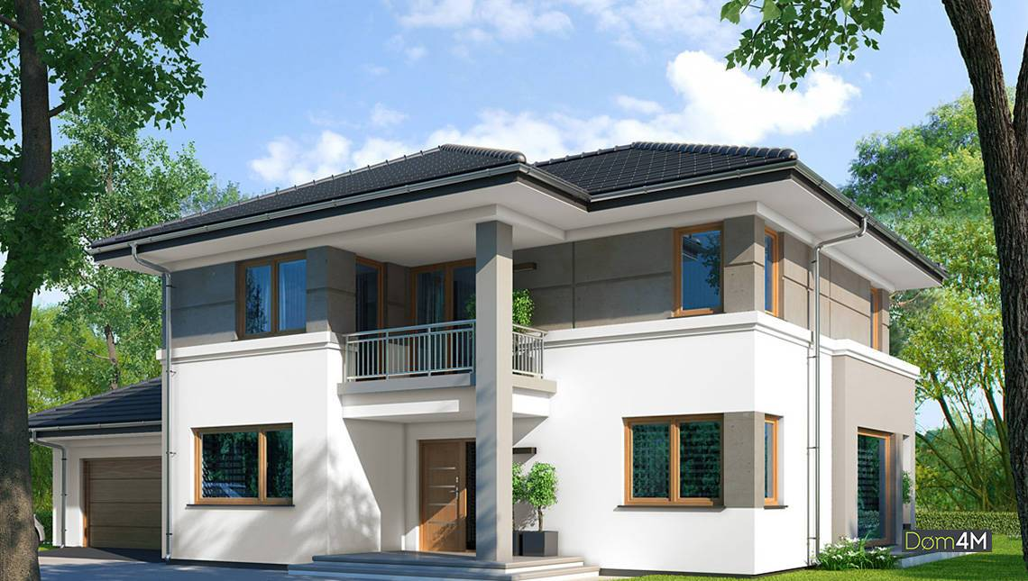Двухэтажный особняк в классическом стиле с гаражом на два автомобиля