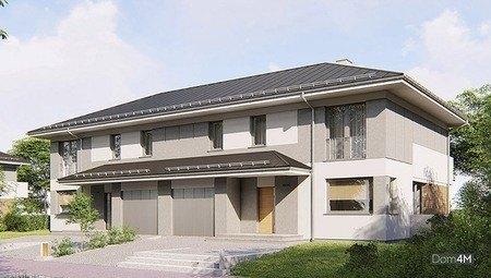 Проект таунхауса с балконами и террасами