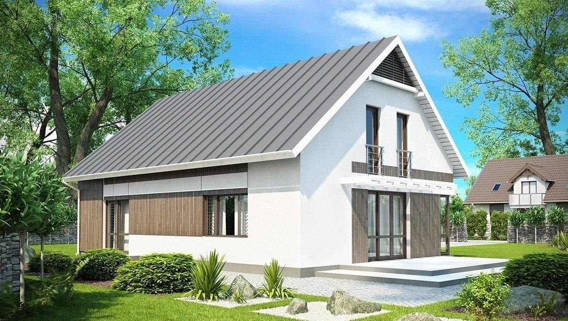 Проект дома с мансардным этажом, гостиной и гаражом на две машины