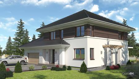 Красочный двухэтажный дом с просторным гаражом