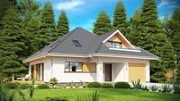 Мансардный дом с боковой террасой и гаражом