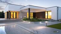 Белоснежный одноэтажный дом с красивой гостиной