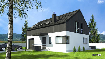 Изящный двухэтажный коттедж, окрашенный контрастными цветами