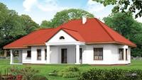 Одноэтажный жилой дом под красной крышей