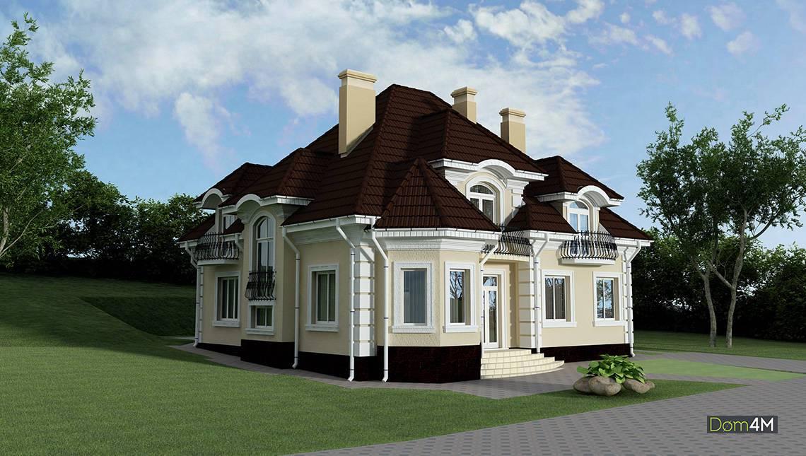 Двухэтажный дом с двумя эркерами и пятью спальнями
