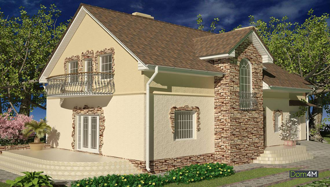 Очаровательный дом с двумя эркерами