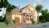 Просторный красивый дом с кирпичным декором