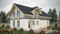 Строгий дом с красивой просторной гостиной
