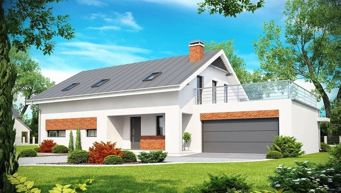 Проект красивого дома со встроенным гаражом и 2 спальнями
