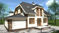 План современного кирпичного дома в два уровня с пристроенным гаражом общей площадью 223 кв. м, жилой 155 кв. м