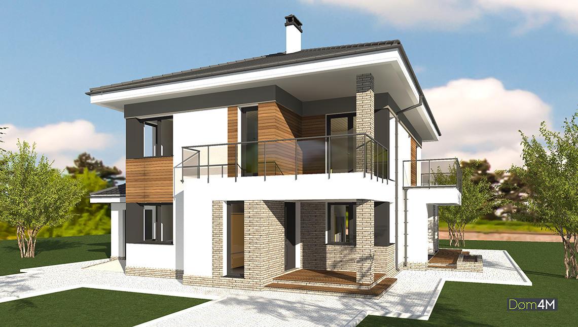 План европейского стильного дома с пристроенным гаражом общей площадью 216 кв. м, жилой 108 кв. м