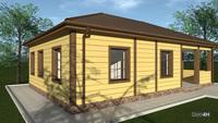 План дома для сезонного проживания среднестатистической семьи общей площадью 73 кв. м, жилой 28 кв. м