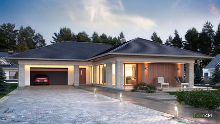 Современный стильный коттедж с просторной гостиной и гаражом на два автомобиля